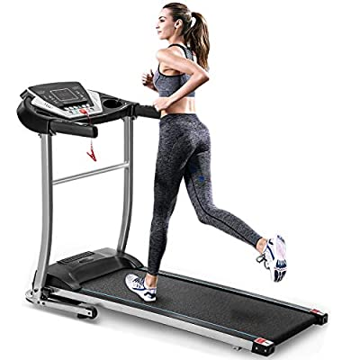 """EiioX Folding Treadmill 1.5HP, 56.3"""" x 25.2"""", Quiet Exercise Machine with MP3, Audio Auxiliary Port, EKG Grip for Home use"""