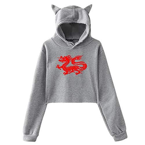 Red Dragon - Felpa con cappuccio con orecchie da gatto con drago cinese, colore: Nero grigio L