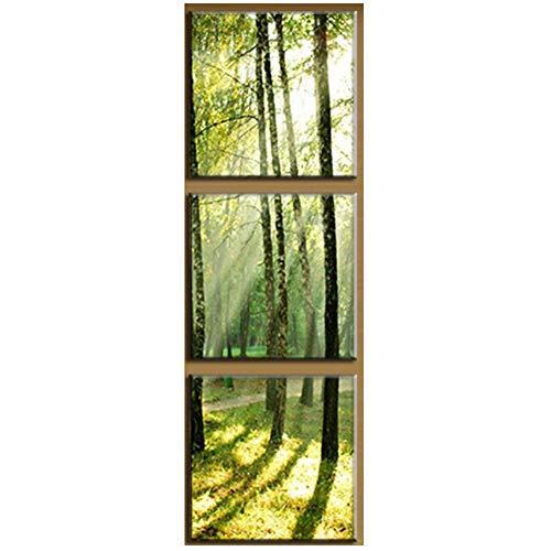 """NO BRAND 3 Piezas de Lienzo Moderno Pinturas de Pared Sol en los árboles Impresiones en Lienzo Formas Verticales Artista Lienzo Cuadro-40x40cm (15.7""""x15.7) Sin Marco"""