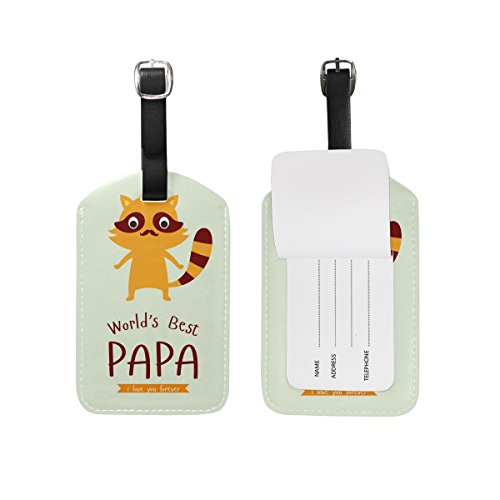 ALAZA Worlds Best PAPA Cute Raccoon Luggage Tag PU Leather Bag Suitcases Label 2 Pieces Set