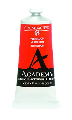Grumbacher Academy Acrylic Paint, 90ml/3 oz Metal Tube, Vermillion