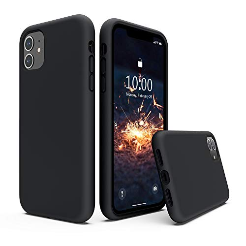 SURPHY Silicone Case Compatible with iPhone 11 Case 6.1 inch, Liquid Silicone Full Body Thickening Design Phone Case (with Microfiber Lining) for iPhone 11 6.1 2019, Black