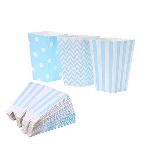 Popcorn Boxes Cardboard Candy Boxes Container Polka Dot Stripe Chevron RippleFor Birthday, Bridal and Baby ShowerCarnival/Graduation/Party/Movie/FiestaDessert Tables Wedding Party Supplies 36pcs