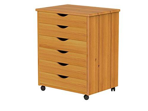 ADEPTUS 76152 6 Drawer Wide Roll Cart, Medium Pine