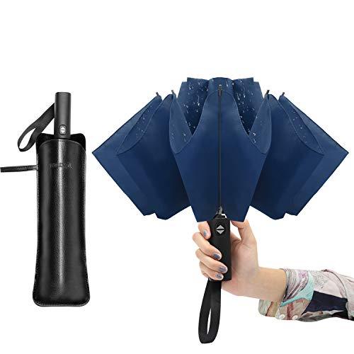 Jiguoor Umgekehrter Regenschirm Taschenschirm 10 Ribs Winddicht Sturmfest Auf-Zu-Automatik Kompakt Leicht Stabil Herren/Damen Teflon-Beschichtung (Dunkelblau)