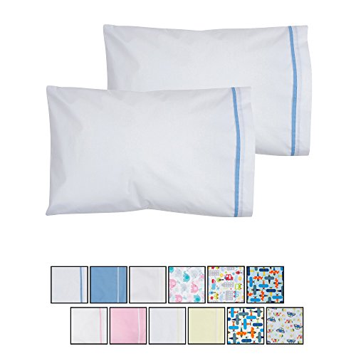 Toddler Pillowcase 13x18-2 Pack - White with Blue Details