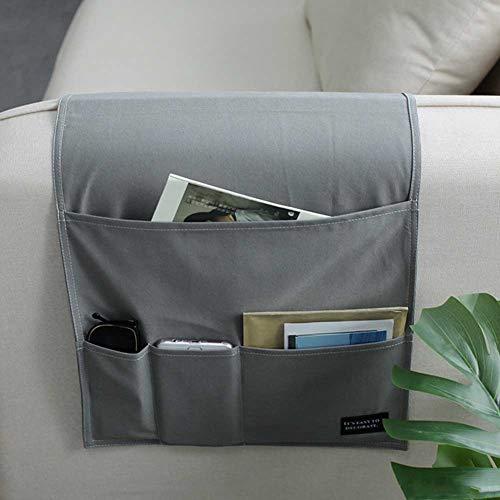 epoxios Reposabrazos para sofá, revistas sólidas, ahorra espacio, control remoto de TV, grande, multifuncional, mesita de noche, antideslizante, bolsa de almacenamiento (gris)