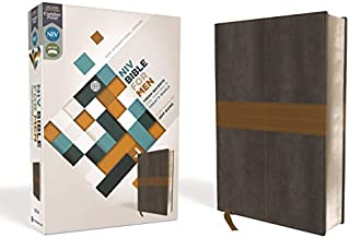 NIV, Bible for Men, Leathersoft, Gray/Tan: Fresh Insights for Thriving in Today's World