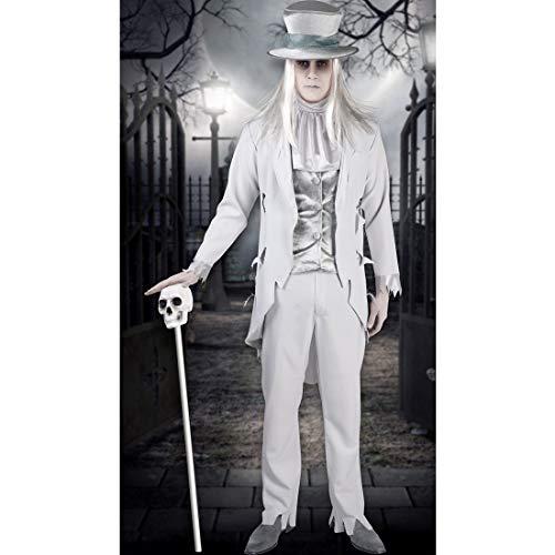 Amakando Elegantes GRAF-Dracula-Kostüm Edelmann / Weiß L (50/52) / Gruseliges Zombie-Outfit Hochzeitsanzug / EIN Blickfang zu Horror-Party & Halloween