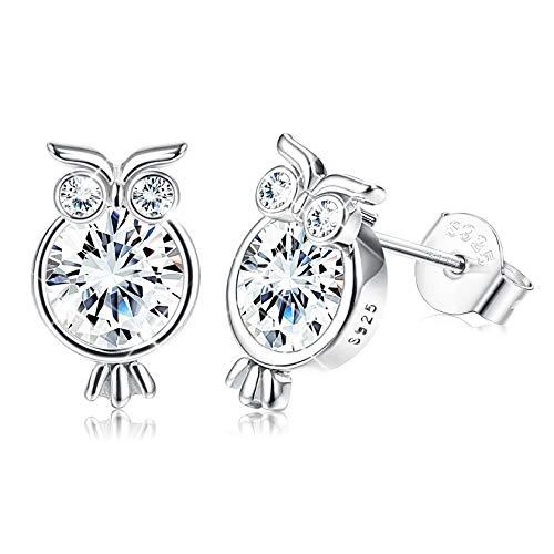 Sllaiss 925 Silber Eule Ohrringe für Damen Mädchen CZ Ohrstecker Geschenk für Damen Schmuck Mit Swarovski Elements (mit Box)