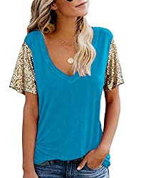 Blue Sequin Short Sleeve Tee V Neck Loose Blouse