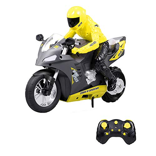 GoolRC Motocicleta Radiocontrol RC 1: 6 Motocicletas de Control Remoto 360 ° Spinning Drift Stunt Stand 20km / h 2WD Giroscopio de 6 Ejes 2.4Ghz Control 1/6 RC Motos Stunt Coche Regalo de niños