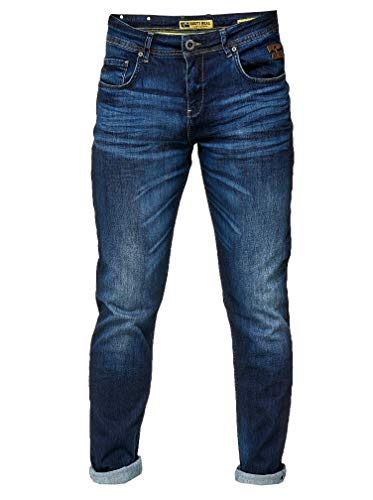 Rusty Neal Dark Blue Herren Jeans Hose Denim Dark Blue Used Streetwear Slim Fit Stretch 177, Hosengröße:34/34