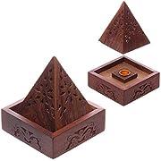 Puckator Sheesham-Cono de Incienso (Madera, diseño de pirámide, marrón, 10 x 9 x 9 CMS