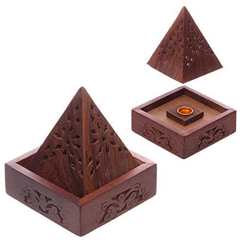 Puckator Sheesham - Caja de Conos de Incienso con Forma de p