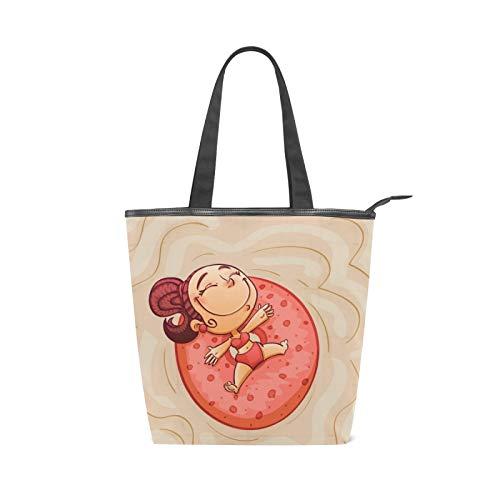 JinDoDo Bolsa de lona con cremallera para niña, anillo de natación, bolsa de viaje para mujer, para ir de compras, ir a la playa y la escuela