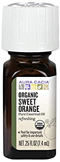 Aura Cacia 100% Pure Sweet Orange Essential Oil | Certified Organic, GC/MS Tested for Purity | 7.4 ml (0.25 fl. oz.) | Cit...