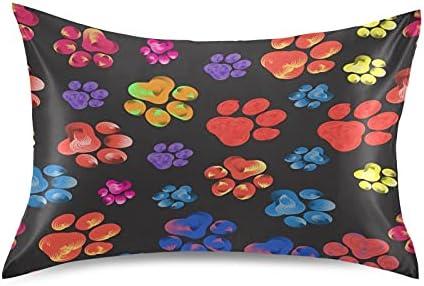 TropicalLife Meetutrip Colorful Dog Paw C Print Columbus Mall Satin Pillowcase Miami Mall
