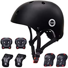XJD Kids Helmet 3-8 Years Toddler Helmet Boys Girls Sports Protective Gear Set Knee Pad Elbow Pads Wrist Guards Adjustable Roller Bicycle BMX Bike Skateboard Helmets for Kids Black S