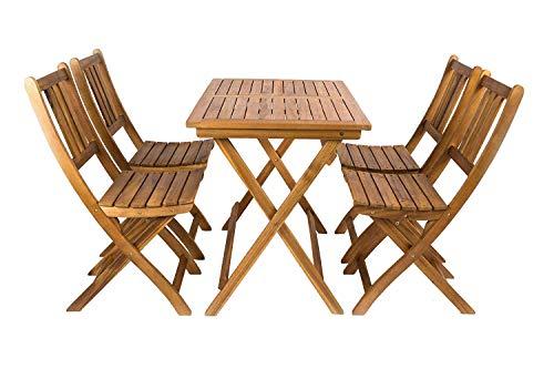 SAM® 5 TLG. Akazien-Holz Gartengruppe Blossom, Sitzgruppe bestehend aus 1 x Tisch und 4 x Gartenstuhl, zusammenklappbares Gartenmöbel, FSC® 100% Zertifiziert