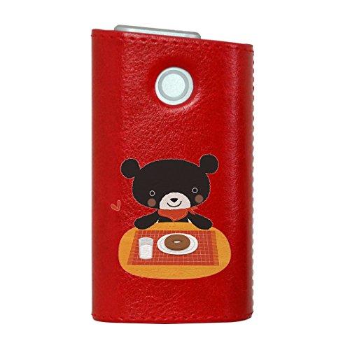 glo グロー グロウ 専用 レザーケース レザーカバー タバコ ケース カバー 合皮 ハードケース カバー 収納 デザイン 革 皮 RED レッド アニマル 動物 キャラクター イラスト 005729