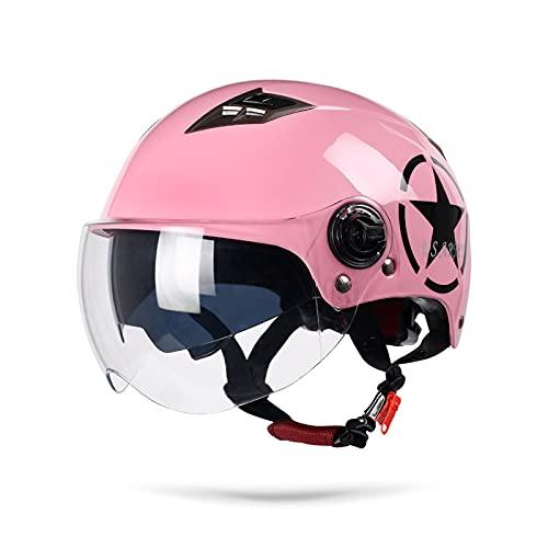LIONCIANO Cascos De Motocicleta para Hombres y Mujeres, Cascos De Ciclomotor con Visera Reflectante, Cabezal Anticolisión Que Protege La Seguridad Vial De Los Usuarios(Rosa)