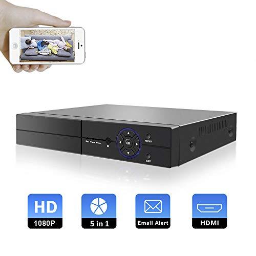OFUN 4CH 5 in 1 1080P DVR Recorder H.265 CCTV Videoüberwachung unterstützt TVI/CVI/AHD/CVBS/IP Kamera, Bewegungserkennung, E-Mail-Benachrichtigung, kostenlose APP für Android/IOS, Keine Festplatte