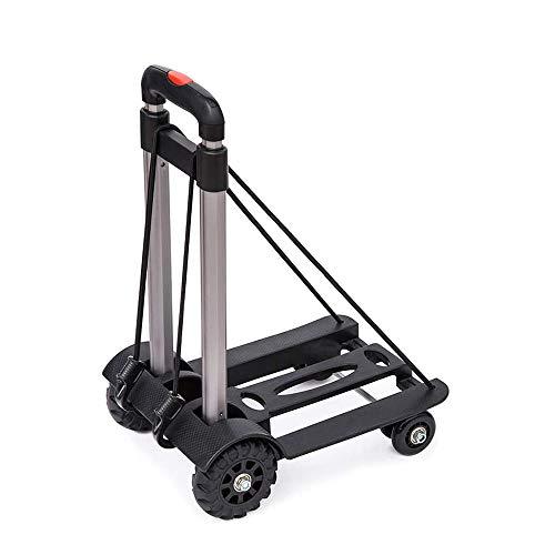 XINTONGSPP Shopping Cart, Folding Portable Trolley, Household Trolley, Four-Wheel Handling Trolley Cart/Shopping Luggage Cart, Black