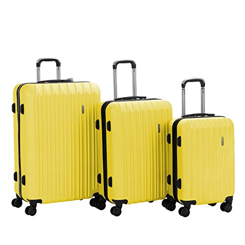 Murtisol Travel 3 Pieces ABS Luggage Sets Hardside Spinner Lightweight Durable Spinner Suitcase 20' 24' 28', 3PCS Yellow