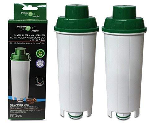 2X FilterLogic CFL950B compatibel waterfilter voor Delonghi SER3017 Espresso koffiezetapparaat DLSC002 past Esam 6900, ECAM350.75.S Magnifica, ECAM 350.15.B Dinamica, ECAM44.620.S - ECAM,ETAM-serie
