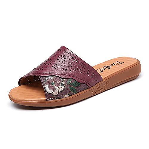 Kirin-1 Zapatillas De Casa para Mujer Verano,Chanclas Playa NiñA 35,Zapatillas De La Madre con El TendóN De La Carne De La Carne De Cuero Pronto De Verano.-37_Vino Tinto