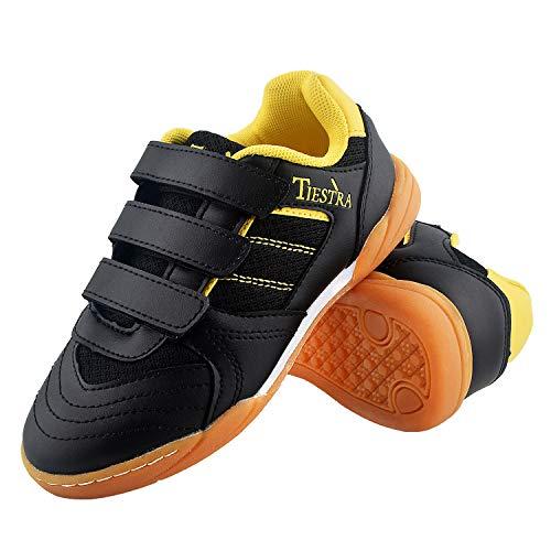 TIESTRA Zapatillas de Deporte Interior Unisex Niños, Zapatillas de Deporte Niños Ligeras Transpirable Zapatos de Correr Antideslizante Sneakers, Zapatillas de Fútbol Unisex Niños, Negro EU33