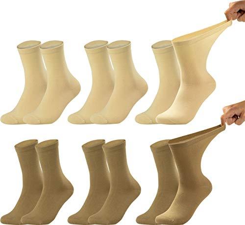 Vitasox Calcetines de señora 11121 extraanchos de algodón, calcetines sanitarios sensibles sin elástico, sin costura, lote de 6, tonos naturales, 39/42