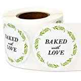 3 Rolls - Baked with Love Labels for Bake Sales, Bakeries, Baked Goods, Green 1.5' Round - 900...