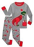 Family Feeling Little Girls Long Sleeve Christmas Pajamas Sets 100% Cotton Holiday Pyjamas Kid Pjs Size 7 Dinosaur