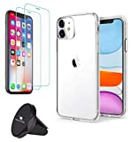 OROZLINK Bundle of 3: iPhone 11/11 Pro/11 Pro Max Crystal Clear Ultra Protective Case - 2 Pack of 9H Tempered Glass Screen Protector - Air Vent Phone Holder.