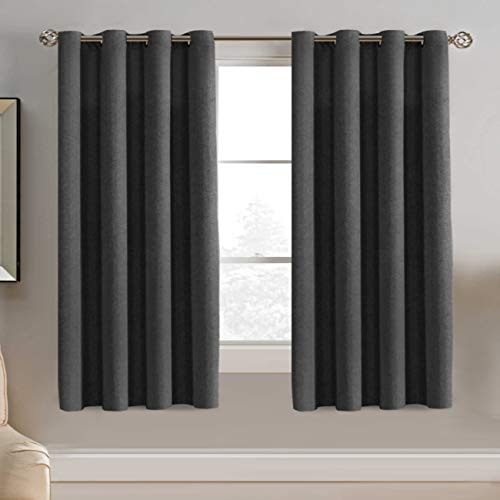 Linen Blackout Curtain 63 Inches Long for Bedroom / Living Room Thermal Insulated Grommet Linen Look Curtain Drapes Primitive Textured Burlab Effect Window Drapes 1 Panel - Charcoal Gray