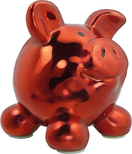 Swiggie Porzellan Sparschwein Metallic Rot Glücksschwein Spardose Sparbüchse: Größe: 15,5 cm