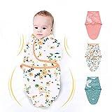 3 Pack Newborn Swaddle Blanket Adjustable Wrap Receiving Blanket Baby 100% Cotton Sleep Bag (3-6 Months, Flower + Green Dots + Pink)