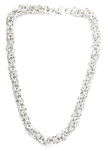 Königskette rund versilbert 10 mm 45 cm Halskette Silberkette Herren-Kette rund Damen Geschenk Schmuck ab Fabrik Italien tendenze BZSRO10-45v