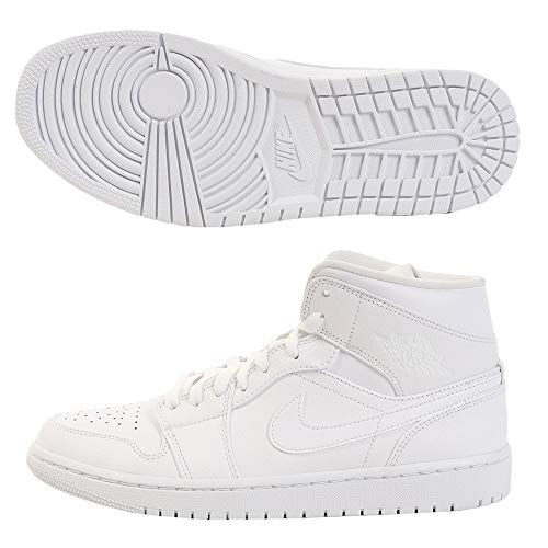 Nike Herren AIR Jordan 1 MID Basketballschuhe, Weiß (White/White/White 129), 40 1/2 EU