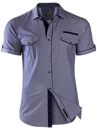Herren Hemd Kurzarm GESTREIFT Slim FIT Sommer 100% Baumwolle Polo Style, Größe:M, Modell/Farbe:02_Dunkelblau