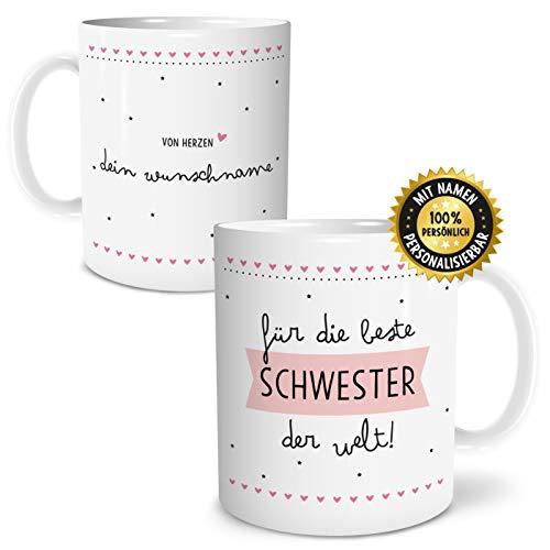 OWLBOOK Beste Schwester Große Kaffee-Tasse mit Spruch im Geschenkkarton Personalisiert mit Namen Geschenke Geschenkidee für Schwester zum Geburtstag Danksagung