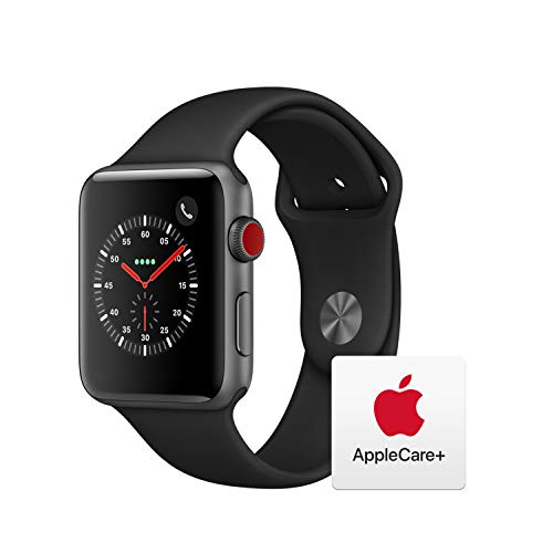 Apple Watch Series 3 (GPS + Cellular, 42mm) - Space Gray Aluminum Case with Black Sport Band with AppleCare+ Bundle