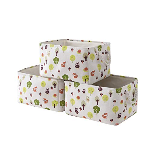 TcaFmac Fabric Storage Baskets for Shelf [3-Pack] Gift Baskets Empty,Dog Toy Basket,Canvas Storage Bins for Closet,Decorative Baskets,Cloth Storage Bins,Baskets for Organizing, Nursery Storage(owl)