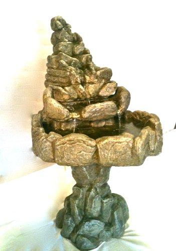 Garden Fountain, Cast Stone, Rock Falls Pond, Tuscan, Tier, Cascade Rock, Concrete, Patio & Outdoor, Rock Garden Water Feature