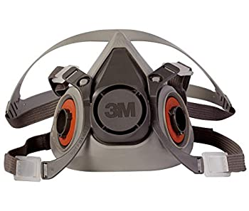 3M Half Facepiece Reusable Respirator 6200 Gases Vapors Dust Paint Cleaning Grinding Sawing Sanding Welding Adjustable Headstraps Bayonet Connection Medium