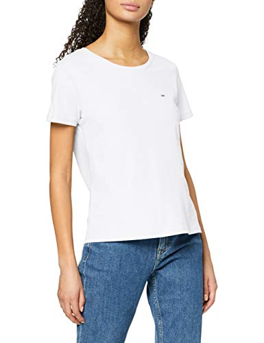 Tommy Jeans Tjw Soft Jersey tee Camiseta, Blanco (White), S para Mujer