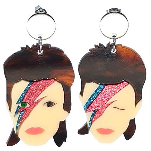 VIALESCARPE - Pendientes colgantes artesanales Arky Fly de plexiglás de colores trabajados con láser. David Bowie. Mujer. Multicolor.