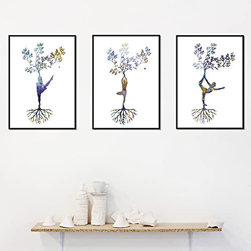 Juego de 3 carteles e impresiones artísticos de yoga tríptico impreso mujer asanas Zen arte de pared lienzo pintura cuadros decoración de estudio 40x60cm | 15.7x23.6'x3 sin marco